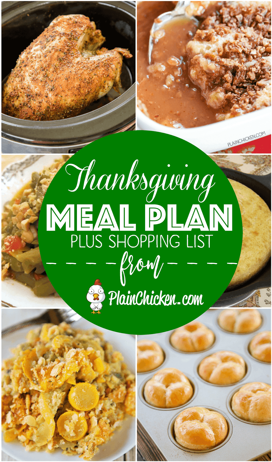 Thanksgiving Meal Plan and Shopping List - get recipes, meal plan and a shopping list to make your holiday meal STRESS-FREE! Turkey, dressing, sides, bread, dessert. When to make what so your holiday is STRESS-FREE!! #thanksgiving #thanksgivingrecipes #mealplanning