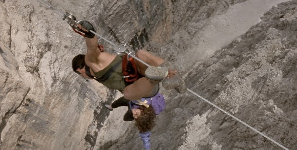 Cliffhanger opening scene accident falling mountain Sly Stallone