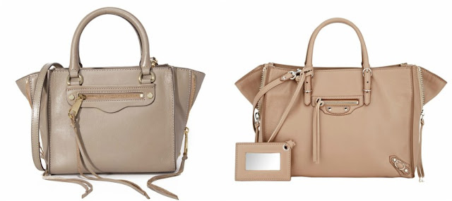 One of these side zip totes is from Balenciaga for $1,550 and the other is from Rebecca Minkoff on sale for $158. Can you guess which one is the more expensive bag?