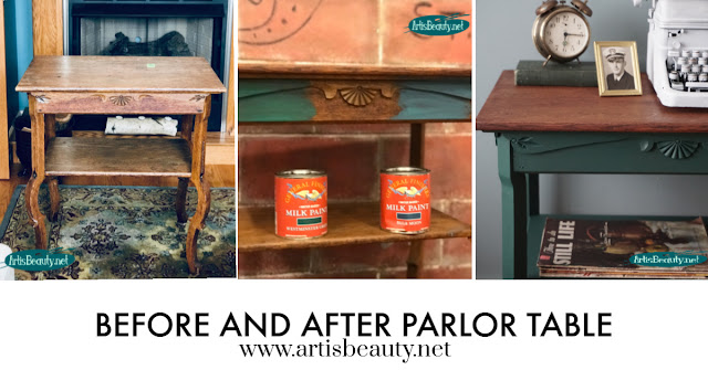 BEFORE AND AFTER ANTIQUE PARLOR TABLE MAKEOVER USING GENERAL FINISHES