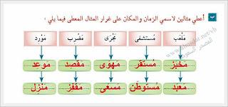 حل درس اسم الزمان والمكان للصف الحادي عشر لغة عربية الفصل الاول