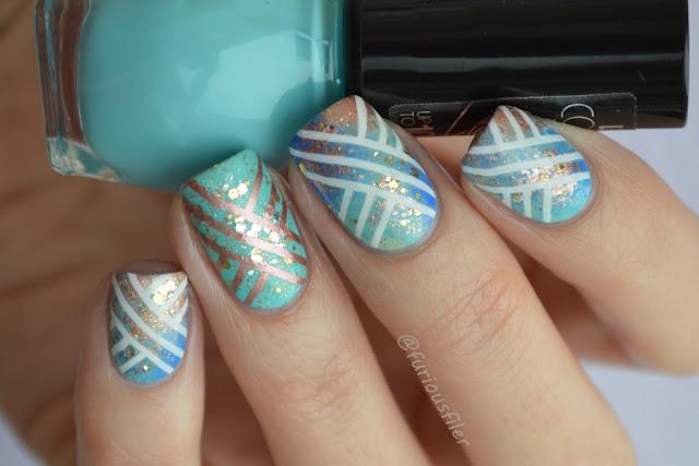#31dc2015 metallic stamp sparkle nail art sponged