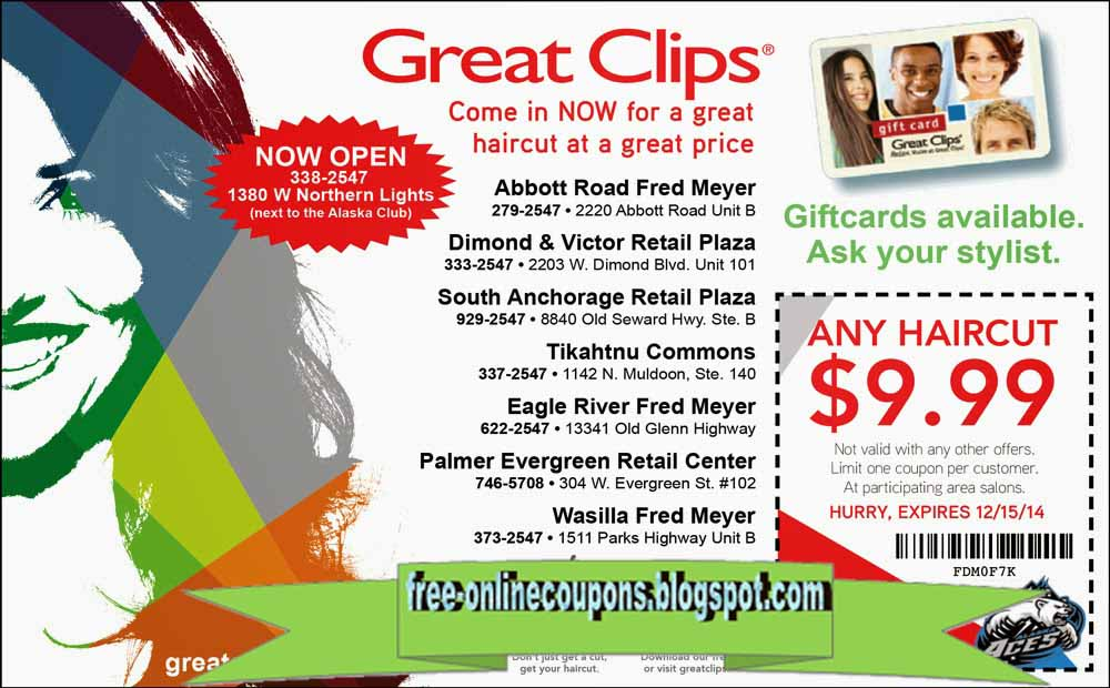 Discount coupons for great clips hair salon
