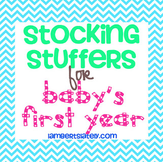 List of 30 stocking stuffer ideas for baby's first Christmas! https://www.lambertslately.com/2012/11/getting-ready-for-christmas-gift-and.html