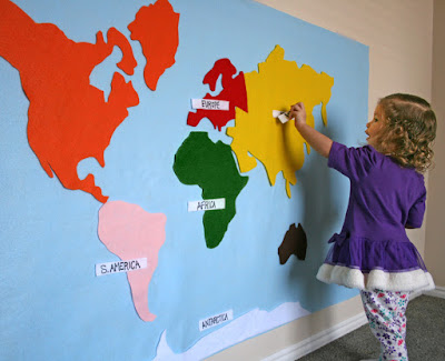 large felt world map from Em Is Crafty