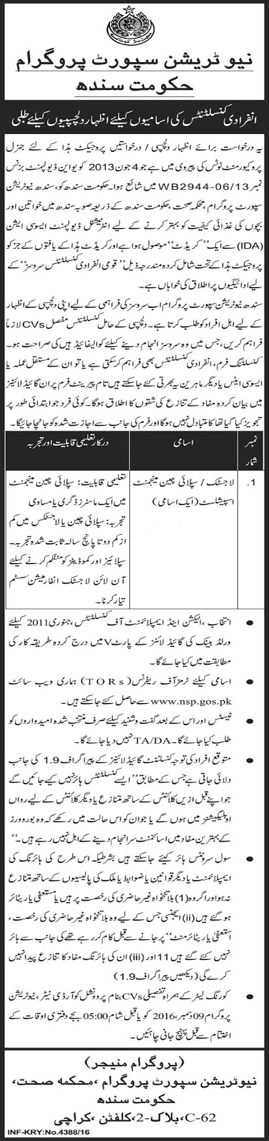 Nutrition Support Program Sindh Govt Jobs