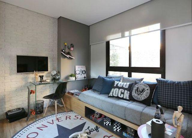 Trucos para decorar dormitorios de adolescentes, dormitorio en gris, blanco y negro
