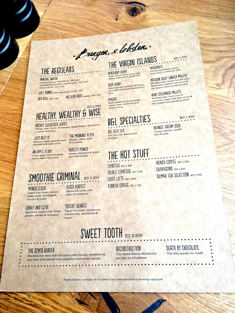 Menu Card for Drinks and Desserts at Burger & Lobster, Kuwait