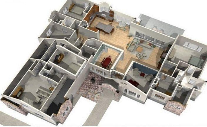 denah rumah 4 kamar tidur 1 lantai kreatif