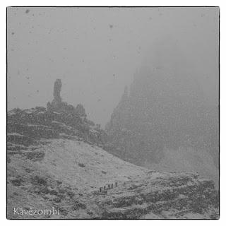 Hirtelen jött havazás a Dolomitokban
