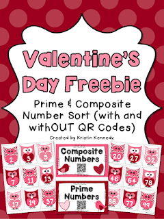 FREE Valentine's Day Prime and Composite Number Sort Activity (With and withOUT QR Codes). Fun, hands on, and perfect for 4th and 5th grade math centers and small groups.