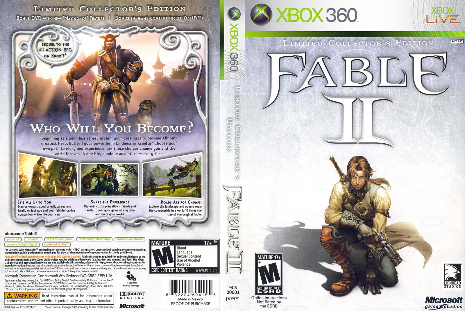 Capa Fable II Limited Collectors Edition Xbox 360