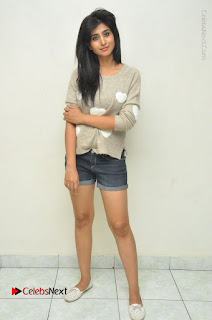 Actress Model Shamili (Varshini Sounderajan) Stills in Denim Shorts at Swachh Hyderabad Cricket Press Meet  0042.JPG