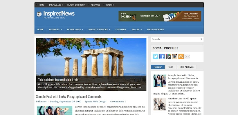 InspiredNews Free Blogger Template