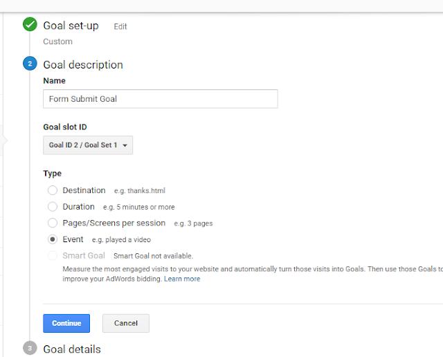 google analytics event goal creation