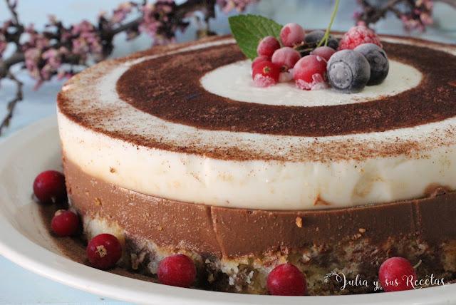 Tarta fría de café y yogur. Julia y sus recetas