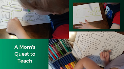 Tracing the letter H and drawing a house