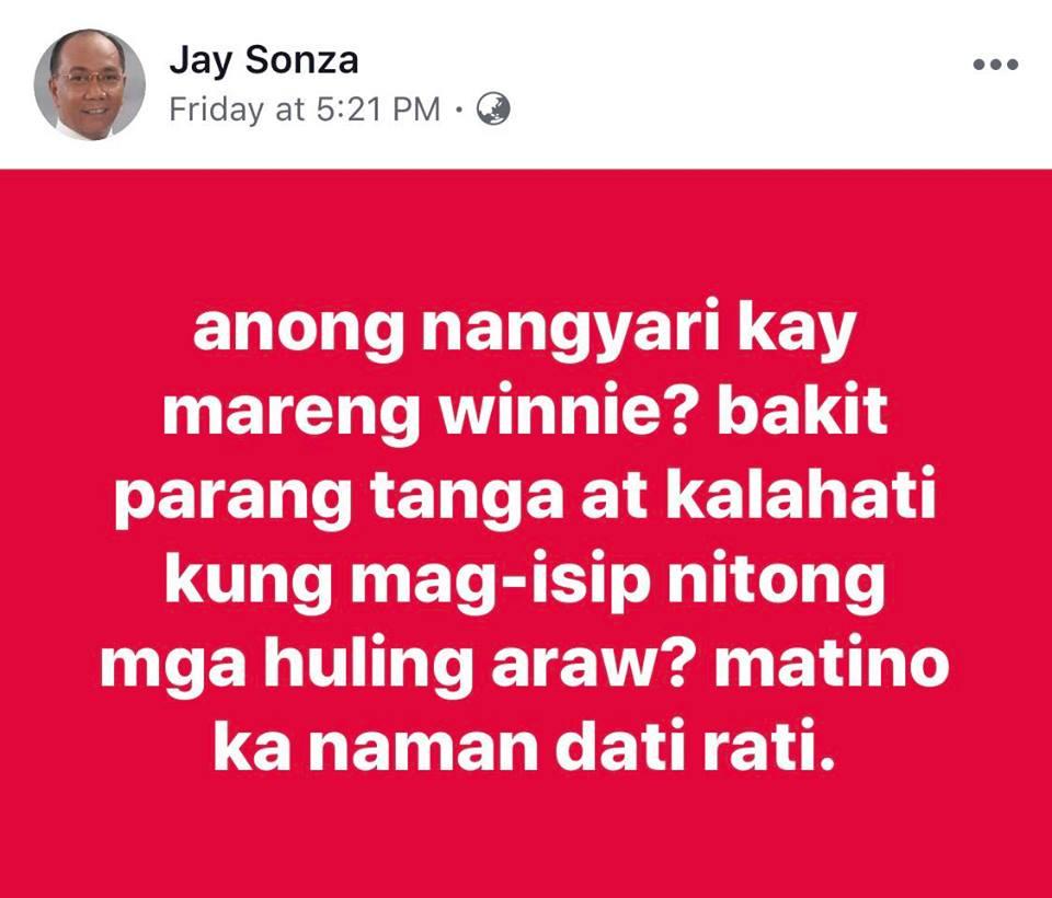 Jay Sonza slams Winnie Monsod: Anong nangyari sayo? Parang tanga at kalahati kung mag-isip