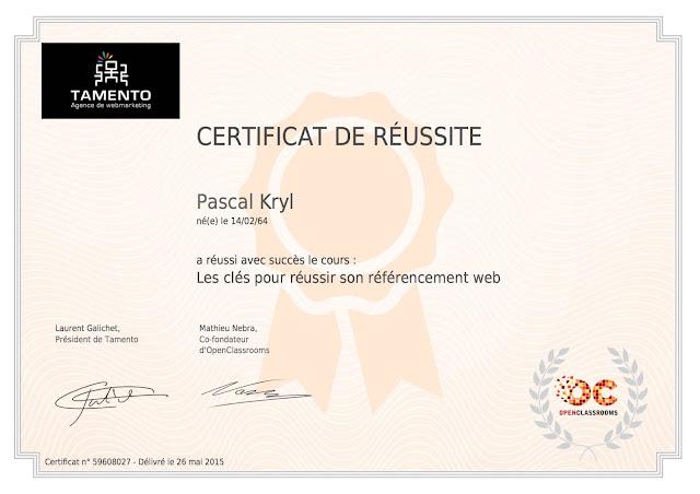 Certificat OpenClassrooms Les clés pour réussir son référencement web