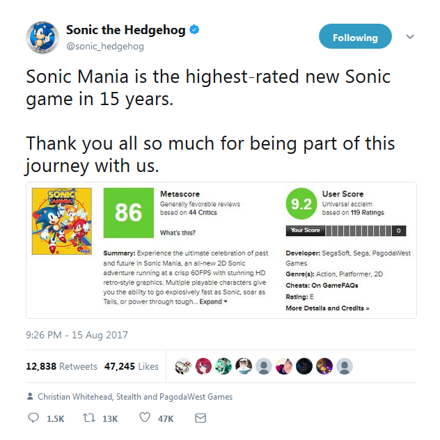 Sonic the Hedgehog Twitter Sonic Mania Metacritic Metascore pinned tweet