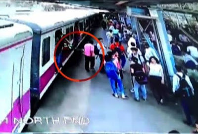 A playful antic turned tragic for Mumbai local commuter Pravin Druv, 20, who hit a signal post and fell off the speeding train.  Just before that he had been caught on CCTV hanging outside the door and mischievously hitting a man walking on the platform.