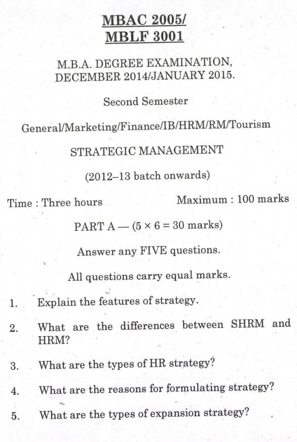 MBA Strategy Management Pondicherry University Jan 2015 Question