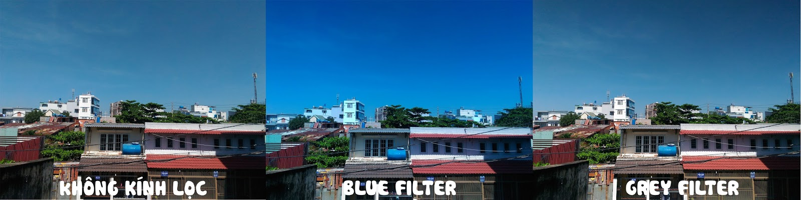 Thử nghiệm kính lọc đa năng màu xanh dương và màu xám