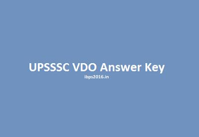 UPSSSC VDO answer key 2016