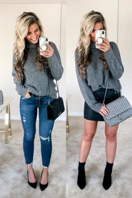 17 Fresh Fall Fashion Outfits To Update Your Closet In 2018 | Madrona Dress+ Mini Skirt+ Shoulder Bag in Grey+ Steve Madden Remy Bootie