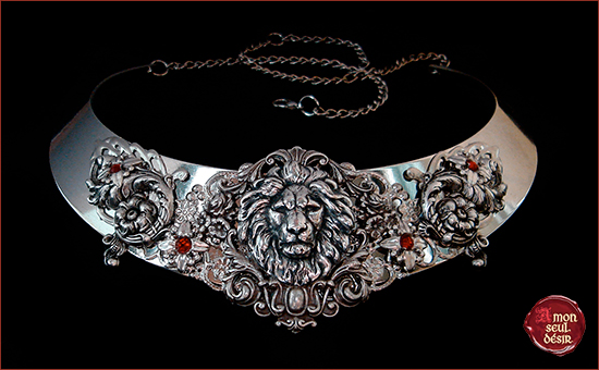 Necklace Lion Medieval Silver Red Ruby Renaissance Fair Festival Middle Age Jewelry Lannister Cersei Game of Thrones Torc Hear Me Roar