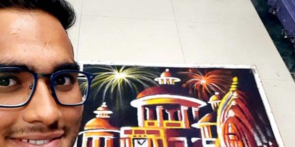 दीपावली पर बनाई झाबुआ के राजवाड़ा की रंगोली, भगोरिया परंपरा को भी किया प्रतिपादित