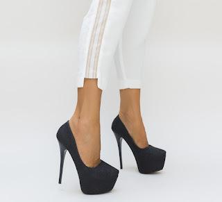 pantofi cu toc si platforma negri cu gliter