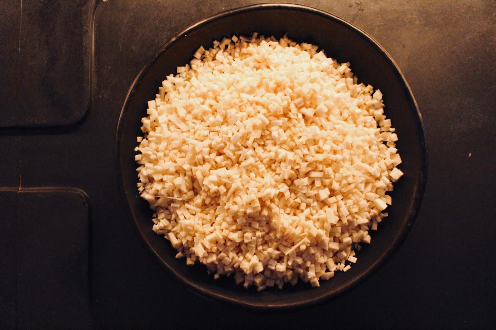 "Celeriac ""risotto"" with wild mushrooms (no rice)"