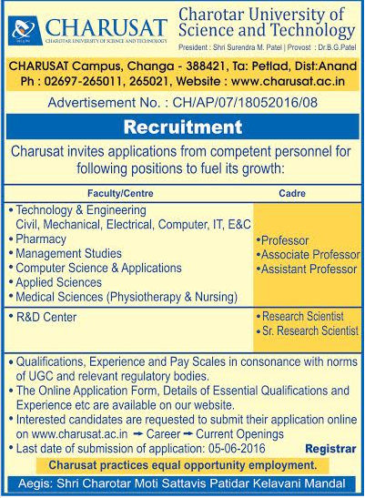 Charusat University Of Science And Technology Wanted