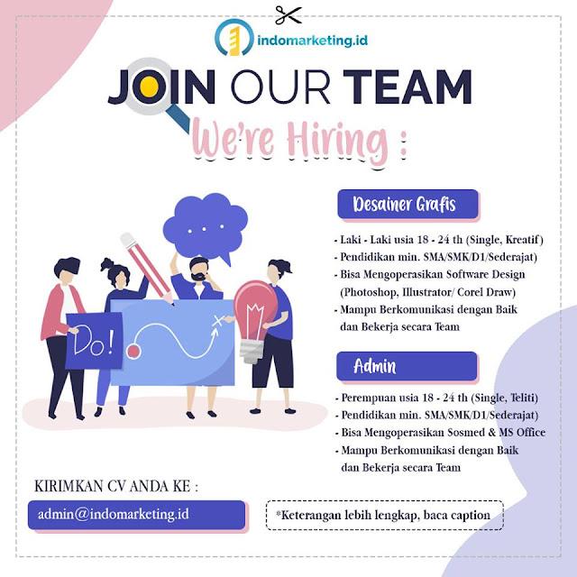 lowongan kerja admin dan design indomarketing id Bandung