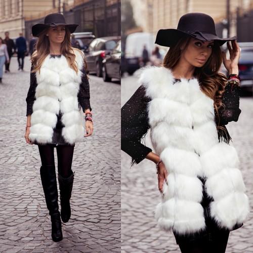 Vesta dama Snow White din blana artificiala lunga la moda