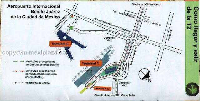 Como llegar y salir de la T2. Aeropuerto Internacional Benito Juárez de la Ciudad de México
