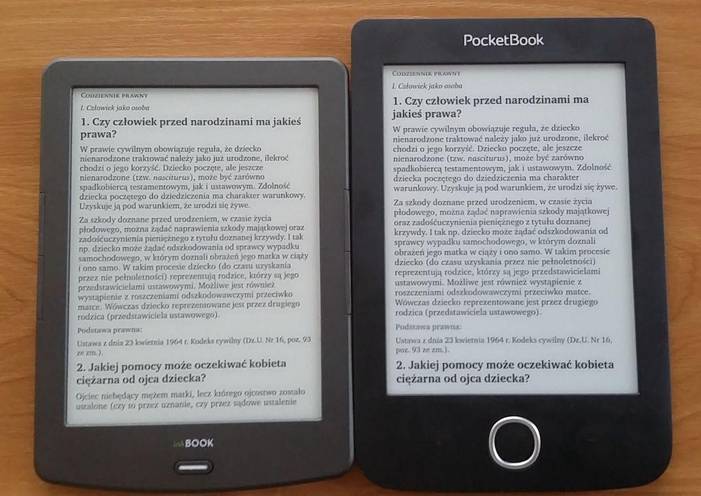 Działanie trybu reflow w PocketBook Basic 3 i InkBOOK Classic