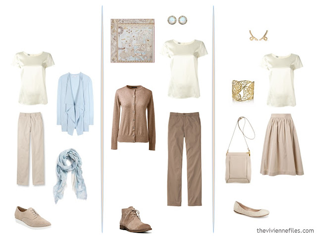 3 outfits using an ivory satin tee, from a capsule wardrobe