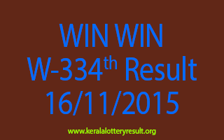 WIN WIN W 334 Lottery Result 16-11-2015