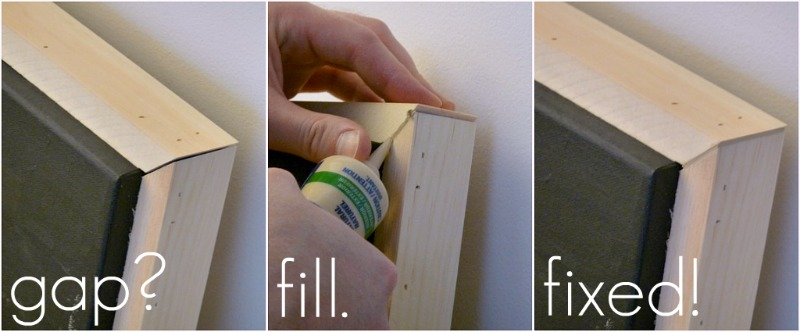 Fix mismatched mitered corners with wood filler
