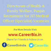 Directorate of Health & Family Welfare, Punjab Recruitment for 317 Medical Officer (Specialist) Vacancies