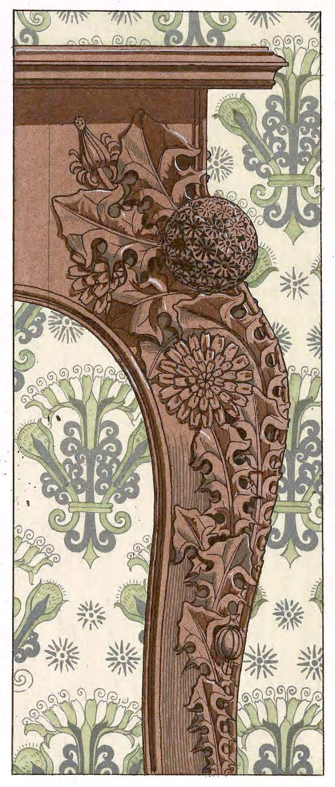 an ornate hardwood leg corner, by Eugene Grasset 1800s