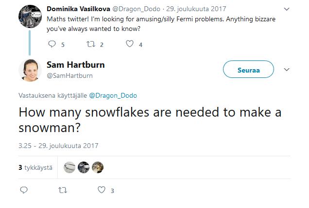 Dominika Vasilkova pyytää hauskoja Fermi-ongelmia. Sam Hartburn kysyy, montako lumihiutaletta tarvitaan lumiukon tekemiseen.