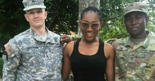 Photos: Ebube Nwagbo meets & strikes a pose with US Soldiers