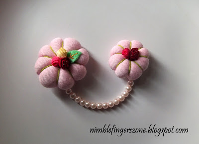 soft pink chain brooches, soft pink brooch, soft pink fabric brooch