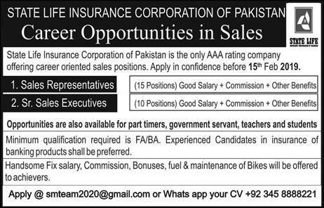 Jobs In State Life Insurance Corporation Of Pakistan 27 Jan 2019