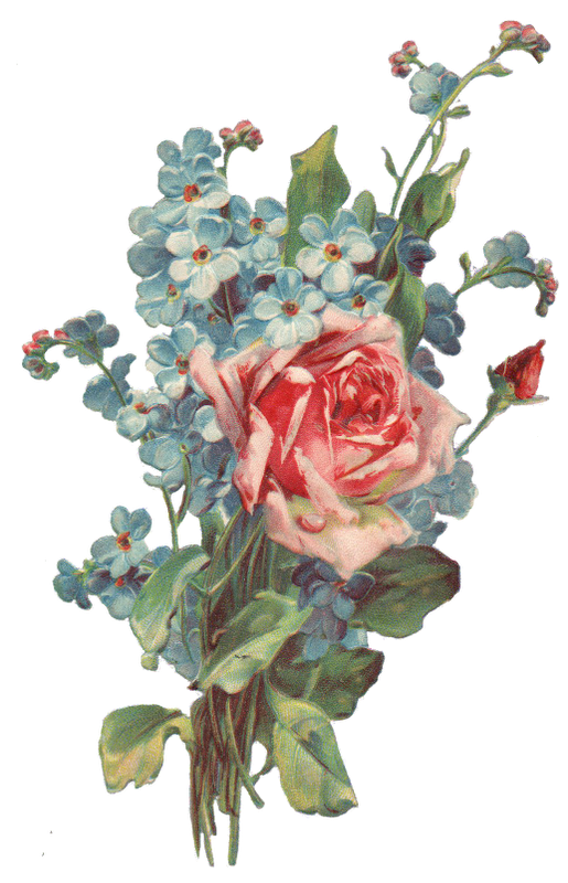 Roses And Forget Me Not Bouquet Png Image Free Clip Art
