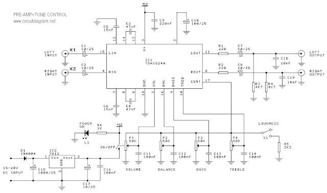 low noise and distortion pre-amplifier and tone control circuit