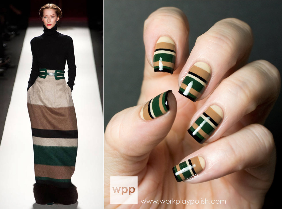Carolina Herrera Fall 2013 RTW inspired Zoya Cashmeres Nail Art